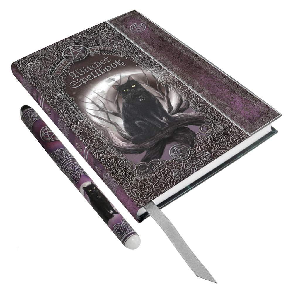 Black Cat Amp Pentacle Spell Book Embossed Journal With