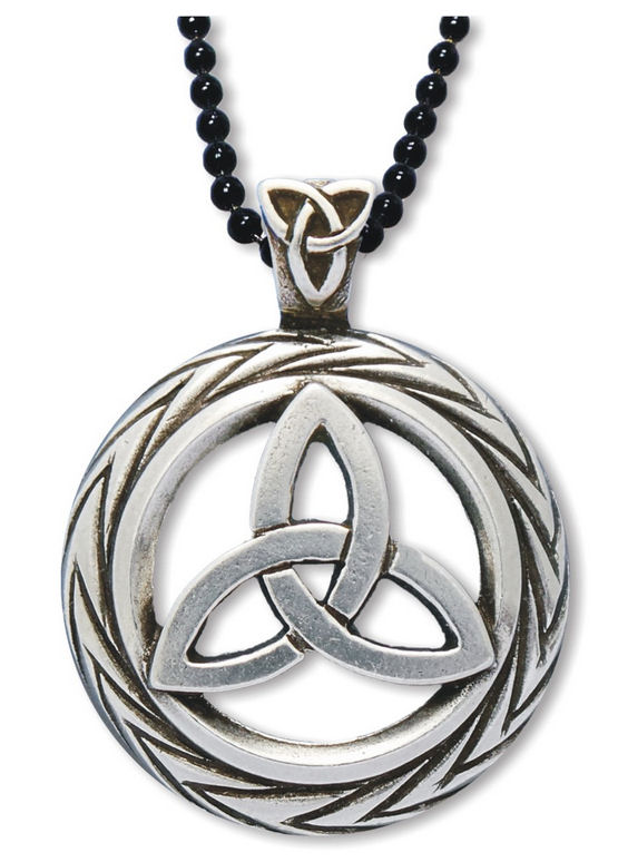 Celtic triquetra necklace charmed symbol pendant w trinity knot on bail mozeypictures Image collections