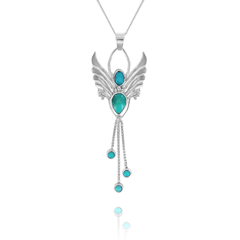 gemstone turquoise angel necklace