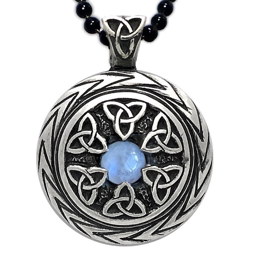 Lovely Triquetra Pendant With Moonstone Charmed Symbol