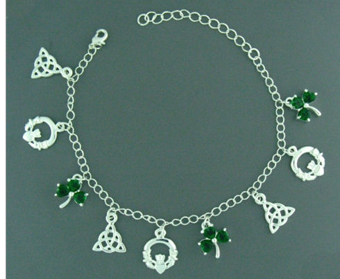 Pewter Irish Charm Bracelet Jpew6054