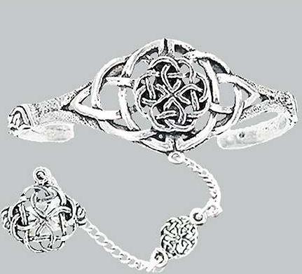 Pewter Slave Bracelet W Ring Celtic Knotwork C2