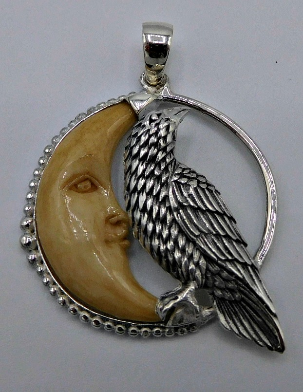 Sterling silver raven and carved moon pendant aloadofball Choice Image