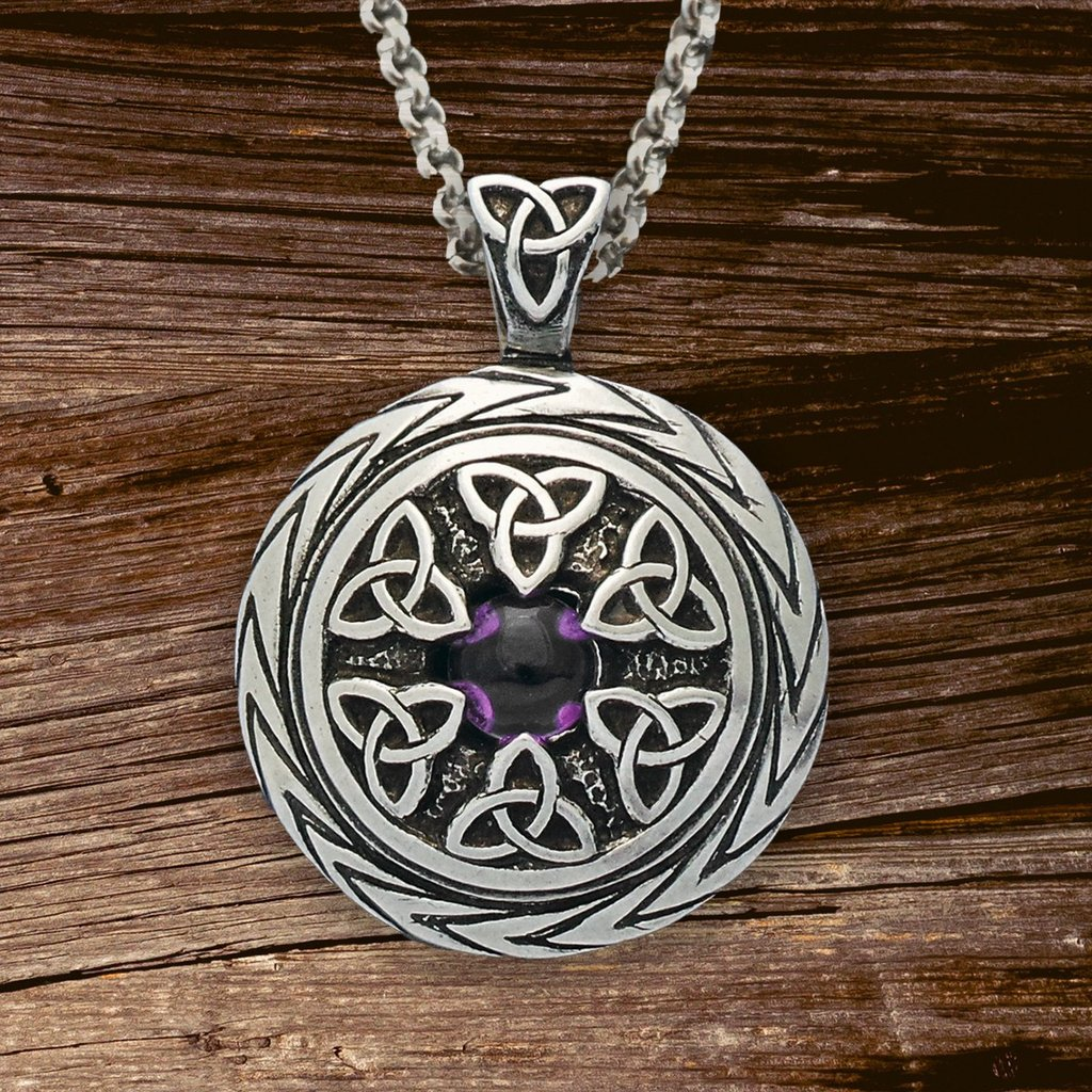 Wonderful triquetra pendant with amethyst charmed symbol with chain mozeypictures Image collections