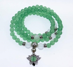 Aventurine 108 Bead Gemstone Mala with Lotus and Eternity Knot