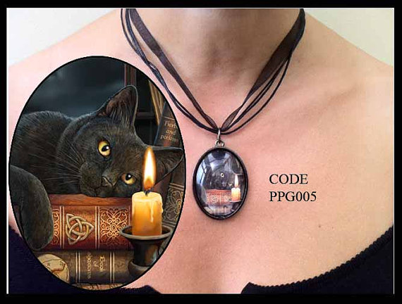Black Cat with Triquetra Glass Choker Necklace by Lisa Parker