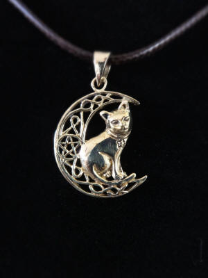 Bronze Celtic Cat Pentacle Pendant by Lisa Parker