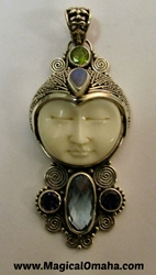 Carved Goddess Face Pendant with Blue Topaz