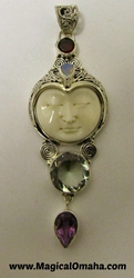 Carved Goddess Face Pendant with Prasiolite