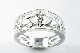 Celtic Claddagh Ring With Diamond Set Heart Sterling Silver by Keith Jack