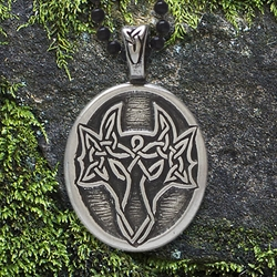 "Celtic DragonPendant with ""Here Be Dragons"" Affirmation on the back"