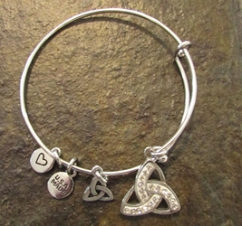 "Celtic ""Evening in Ireland"" Trinity Knot Triquetra Charm Bangle Bracelet"