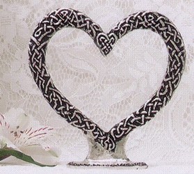 Celtic Heart Pewter Cake Topper