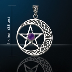 Celtic Knotwork Crescent Moon Pentacle Pendant w/ Amethyst Glass