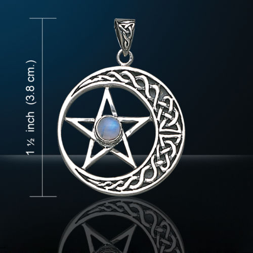Celtic Knotwork Crescent Moon Pentacle Pendant w/ Rainbow Moonstone