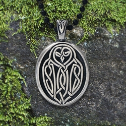 "Celtic Owl Pendant w/ ""Your wisdom will guide you true"" Affirmation on the back"