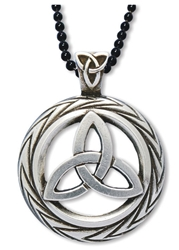 Celtic Triquetra Necklace Charmed Symbol pendant w/ Trinity Knot on Bail