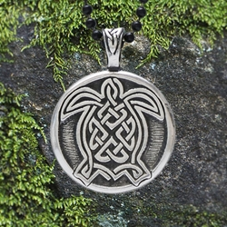 "Celtic Turtle Pendant w/ ""Life is a journey. Journey well!"" Affirmation on the back"