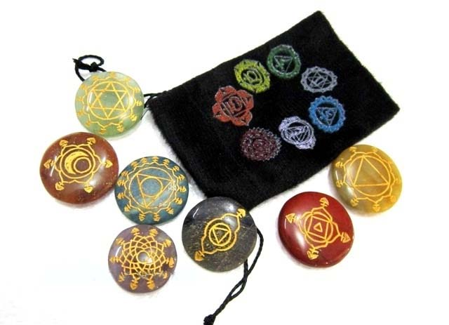 Chakra Stones Set with Sanskrit Symbol & Decorated Pouch