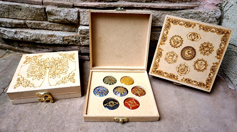 Chakra Stones Set with Sanskrit Symbol & Tree of Life Wooden Box