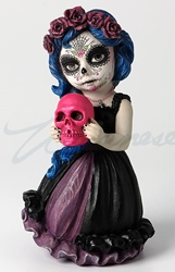 Cosplay Kids Figurines- Day Of The Dead Holding Pink Skull