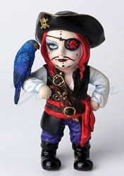 Cosplay Kids Figurines- Pirate Captain With Eye Patch And Parakeet