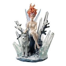 Crystal Fairy with Wolf Statue by Melanie Dillon Crystal Fairy with Wolf Statue by Melanie Dillon