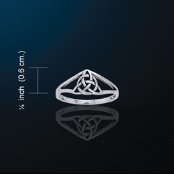 Dainty Triquetra Ring White Bronze Ring