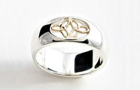 Double Triquetra Ring Silver with 10 K Gold By Celtic Artist Keith Jack