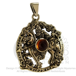 Dryad Design Bronze Odin Pendant with Amber
