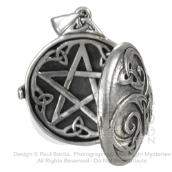 Dryad Designs Celtic Swirl Locket  w/ Hidden Pentacle- Silver