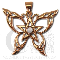 Dryad Designs Copper Butterfly Pentacle Pendant with White Moonstone