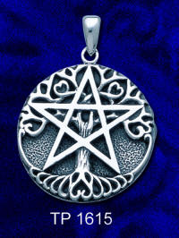 "Dryad Designs Sterling Silver Tree Pentacle Pendant   Dryad Designs Jewelry by Paul Borda  Size: 1""h x 1""w"