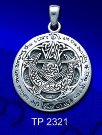 Dryad Sterling Silver Large Moon Pentacle Pendant  Dryad Designs by Paul Borda