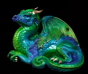 Emerald-Peacock Old Warrior Dragon by Windstone Editions
