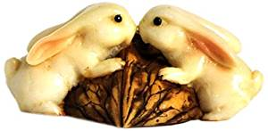 Enchanted Story Fairy Garden Rabbits Kissing on Walnut Outdoor Decor