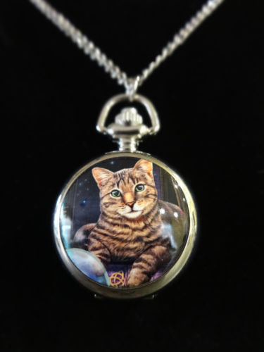 """Fortune Teller"" Tabby Cat Crystal Ball Pocket Watch Necklace"