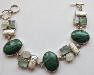 Gorgeous One of a Kind Malachite, Moonstone, Shell and Prehnite Bracelet  8""