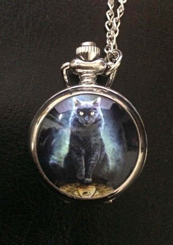 """His Master's Voice"" Black Cat Ouija Board Pocket Watch Necklace"