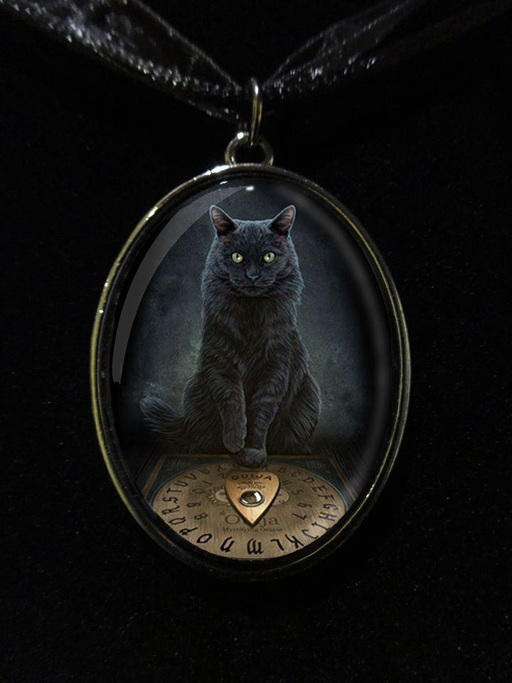 """His Master's Voice"" Black Cat with Ouija Board Glass Choker Necklace by Lisa Parker"