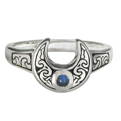 Horned Moon Ring with Rainbow Moonstone by Dryad Designs