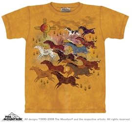 Horses and Sun Tee Shirt Native American Inspired