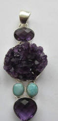 Large Amethyst and Larimar Sterling Silver Pendant