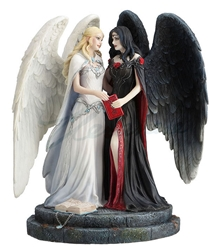Light and Dark Angel Statue by James Ryman Light and Dark Angel Statue by James Ryman, dark angel, light angel, dual angels