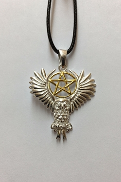 Lisa Parker Owl Pentacle Sterling and Gold Pendant