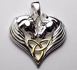 Lisa Parker Two Unicorn Triquetra Heart Sterling and Gold Pendant