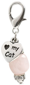 """Love My Cat Charm"" Rose Quartz & Swarovski Crystal"
