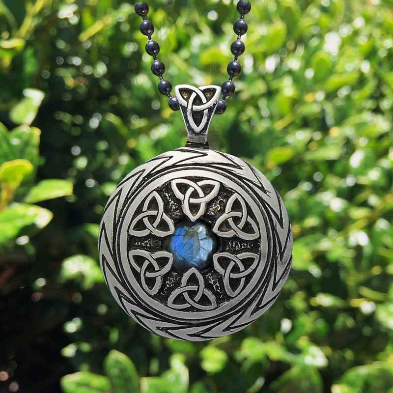 Lovely Triquetra Pendant With Labradorite Charmed Symbol