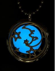 Moon and Stars Glow-in-the-Dark Locket Pendant Diffuser Aromatherapy Pendant
