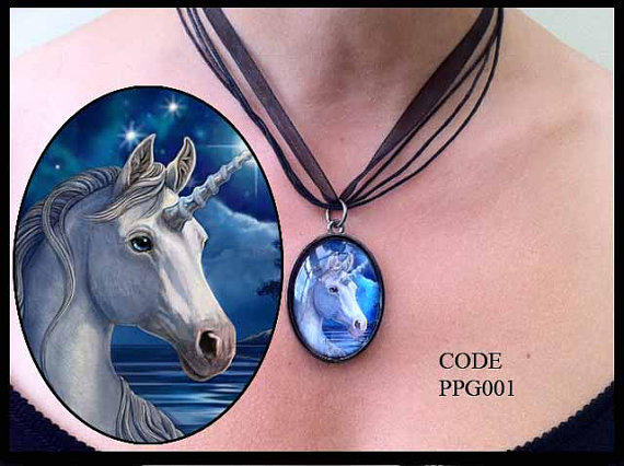 Mystical Silver Unicorn Glass Choker Necklace by Lisa Parker